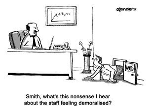 business cartoon in office